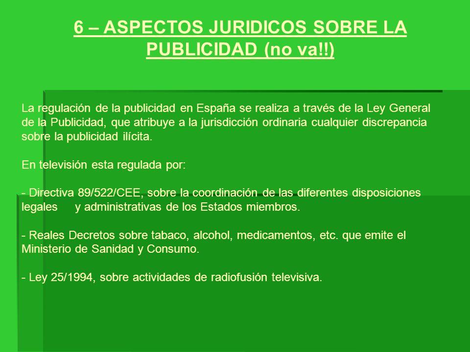 6 – ASPECTOS JURIDICOS SOBRE LA PUBLICIDAD (no va!!) La regulación de la publicidad en España se realiza a través de la Ley General de la Publicidad,