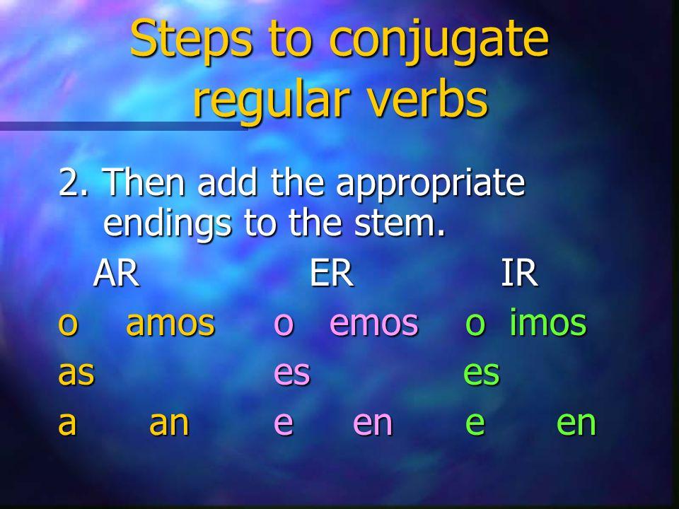 Examples of AR verbs 1.Yo hablo a Paco. 2. Tú decoras el pastel.