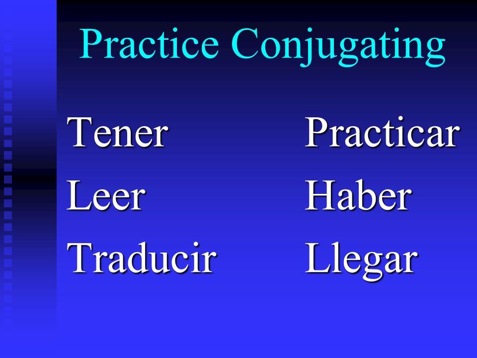 Practice Conjugating TenerPracticar LeerHaber TraducirLlegar