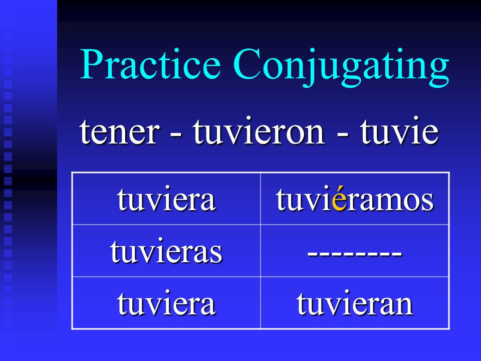 Practice Conjugating tener - tuvieron - tuvie tuviera tuviéramos tuvieras-------- tuvieratuvieran
