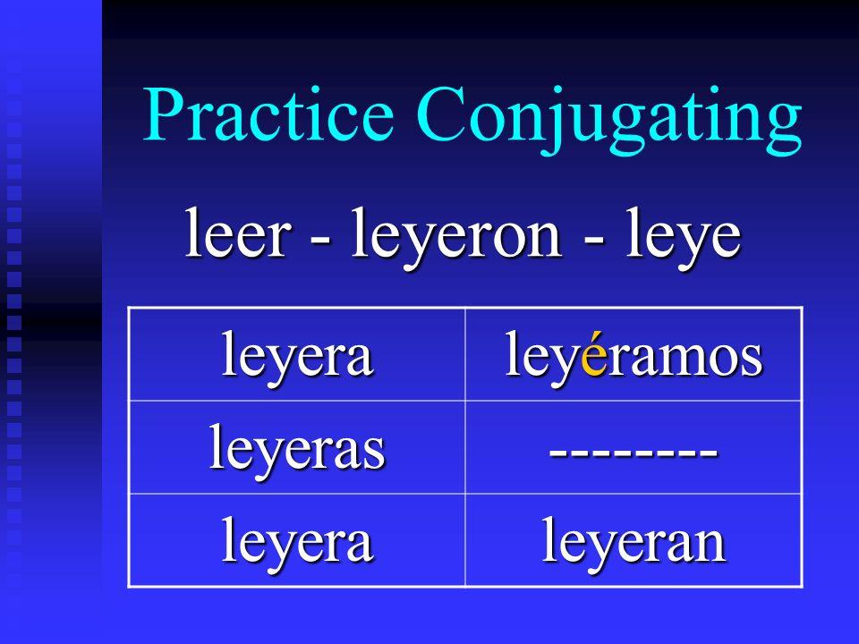 Practice Conjugating leer - leyeron - leye leyera leyéramos leyeras-------- leyeraleyeran