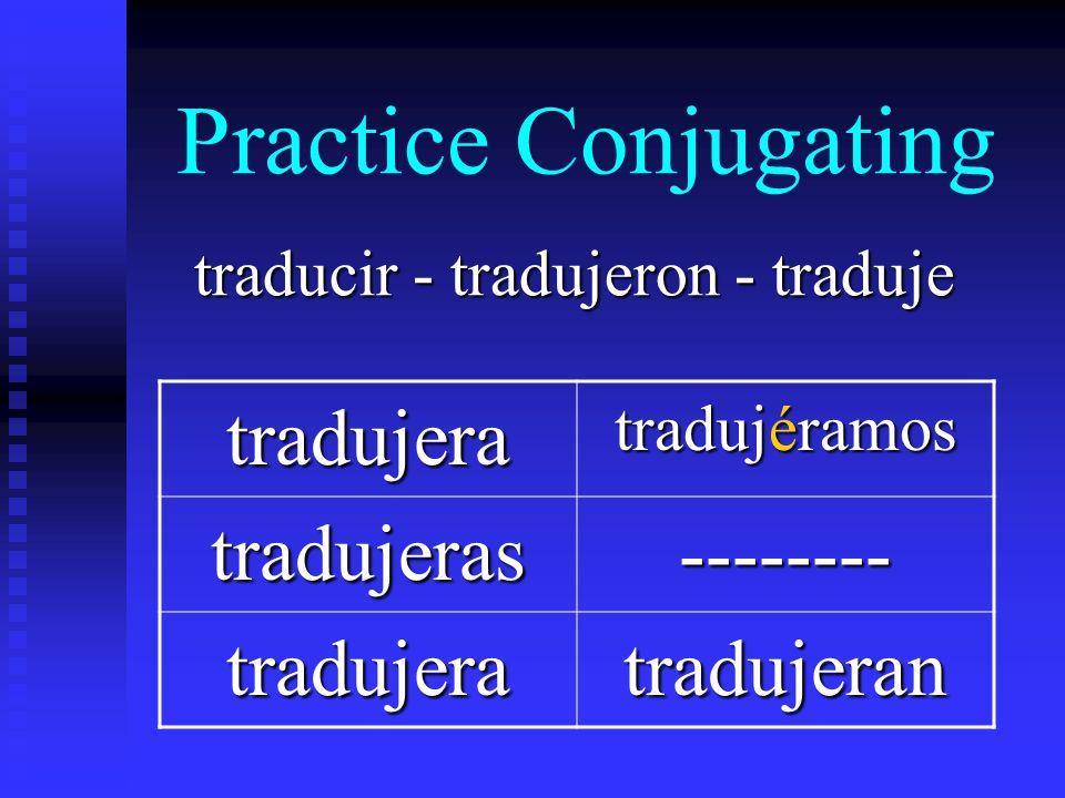Practice Conjugating traducir - tradujeron - traduje tradujera tradujéramos tradujeras-------- tradujeratradujeran