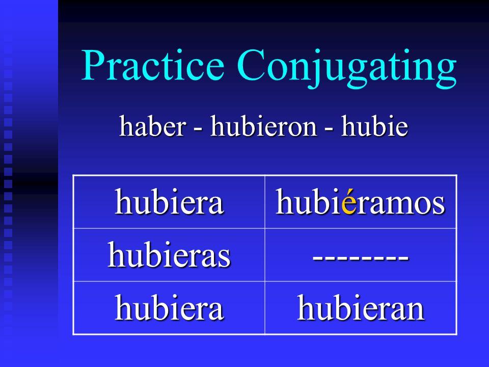 Practice Conjugating haber - hubieron - hubie hubiera hubiéramos hubieras-------- hubierahubieran