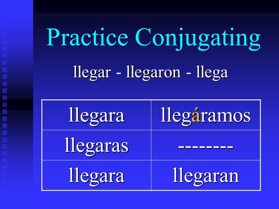 Practice Conjugating llegar - llegaron - llega llegara llegáramos llegaras-------- llegarallegaran