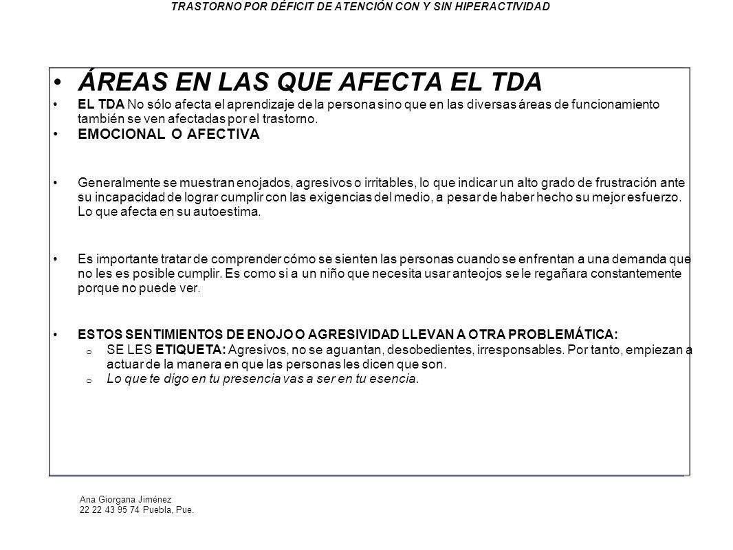 Ana Giorgana Jiménez 22 22 43 95 74 Puebla, Pue. TRASTORNO POR DÉFICIT DE ATENCIÓN CON Y SIN HIPERACTIVIDAD ÁREAS EN LAS QUE AFECTA EL TDA EL TDA No s