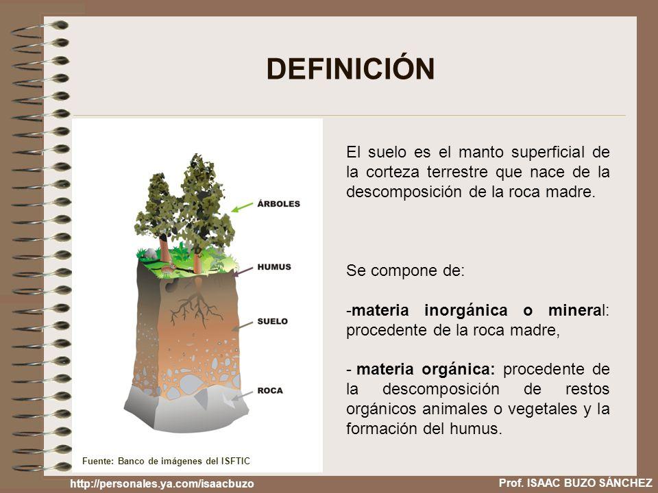 Prof. ISAAC BUZO SÁNCHEZ DEFINICIÓN El suelo es el manto superficial de la corteza terrestre que nace de la descomposición de la roca madre. Se compon