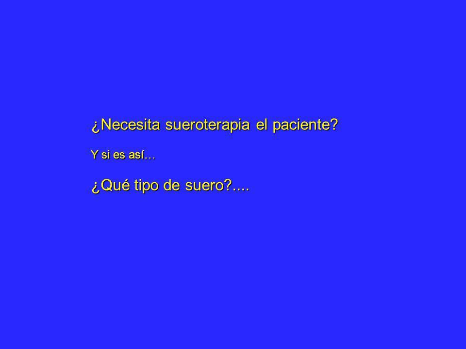 ¿Necesita sueroterapia el paciente? Y si es así… ¿Qué tipo de suero?....