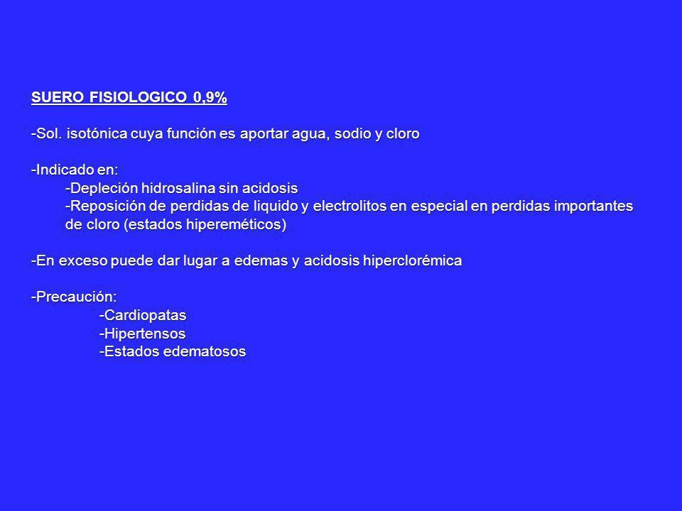 SUERO GLUCOSADO AL 5% -Solución isotónica con 50g de glucosa/L (200calorías/L) -Indicado fundamentalmente en: -Deshidratación (por falta de ingesta de líquidos, intensa sudoración, etc) -Para mantenimiento de vía -Contraindicado en enfermedad de Adisson (crisis adissoniana)