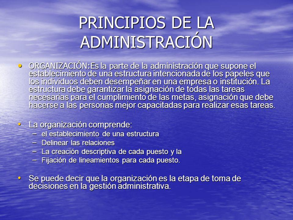 PRINCIPIOS DE LA ADMINISTRACIÓN ORGANIZACIÓN:Es la parte de la administraci ón que supone el establecimiento de una estructura intencionada de los pap