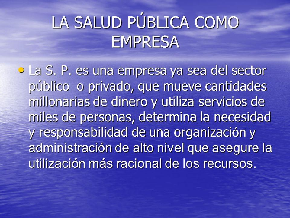 LA SALUD PÚBLICA COMO EMPRESA La S. P. es una empresa ya sea del sector público o privado, que mueve cantidades millonarias de dinero y utiliza servic