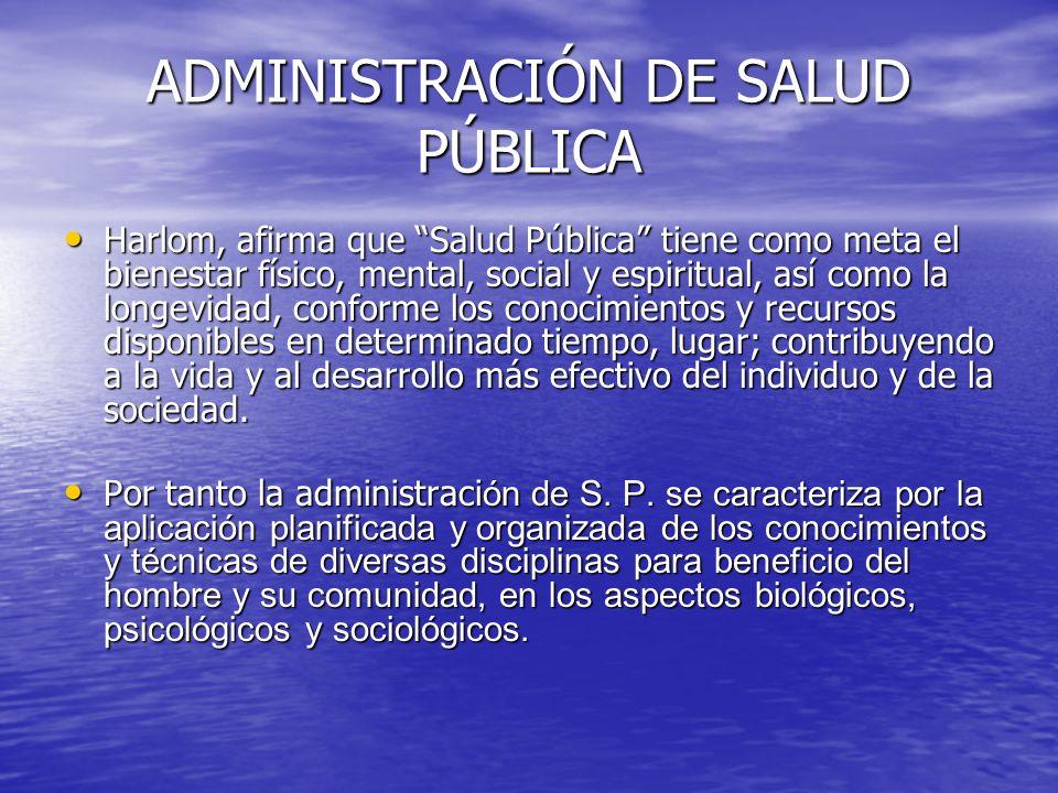 ADMINISTRACIÓN DE SALUD PÚBLICA Harlom, afirma que Salud Pública tiene como meta el bienestar físico, mental, social y espiritual, así como la longevi