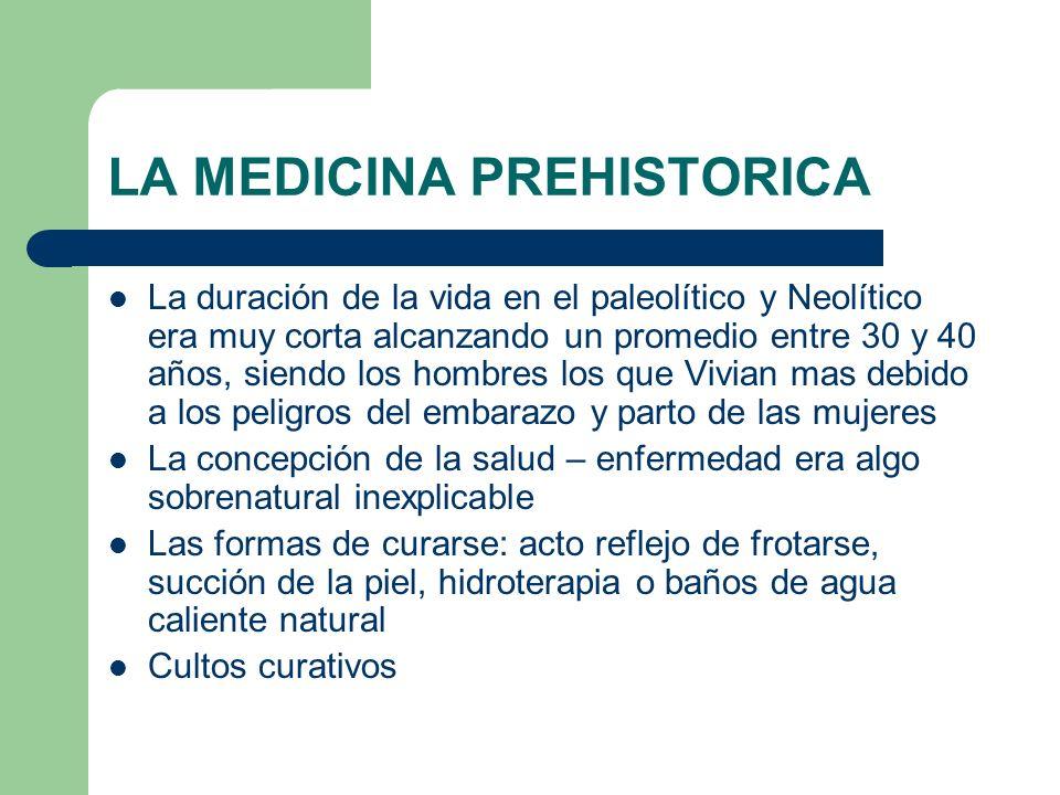LA MEDICINA PREHISTORICA La duración de la vida en el paleolítico y Neolítico era muy corta alcanzando un promedio entre 30 y 40 años, siendo los homb