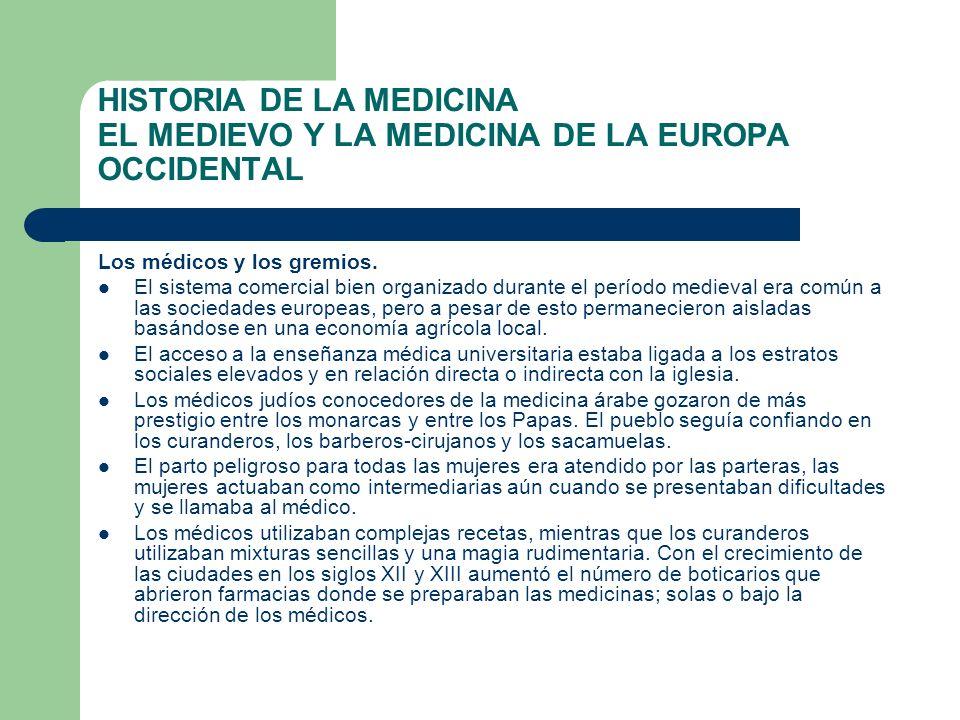 HISTORIA DE LA MEDICINA EL MEDIEVO Y LA MEDICINA DE LA EUROPA OCCIDENTAL Los médicos y los gremios. El sistema comercial bien organizado durante el pe