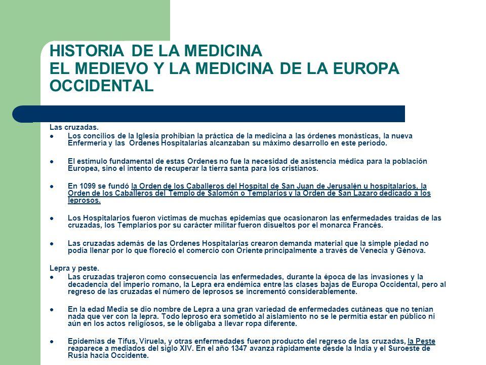 HISTORIA DE LA MEDICINA EL MEDIEVO Y LA MEDICINA DE LA EUROPA OCCIDENTAL Las cruzadas. Los concilios de la Iglesia prohibían la práctica de la medicin