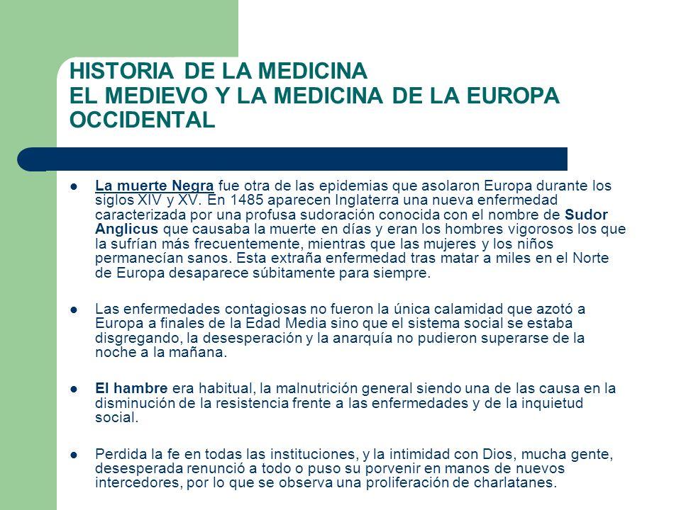 HISTORIA DE LA MEDICINA EL MEDIEVO Y LA MEDICINA DE LA EUROPA OCCIDENTAL La muerte Negra fue otra de las epidemias que asolaron Europa durante los sig