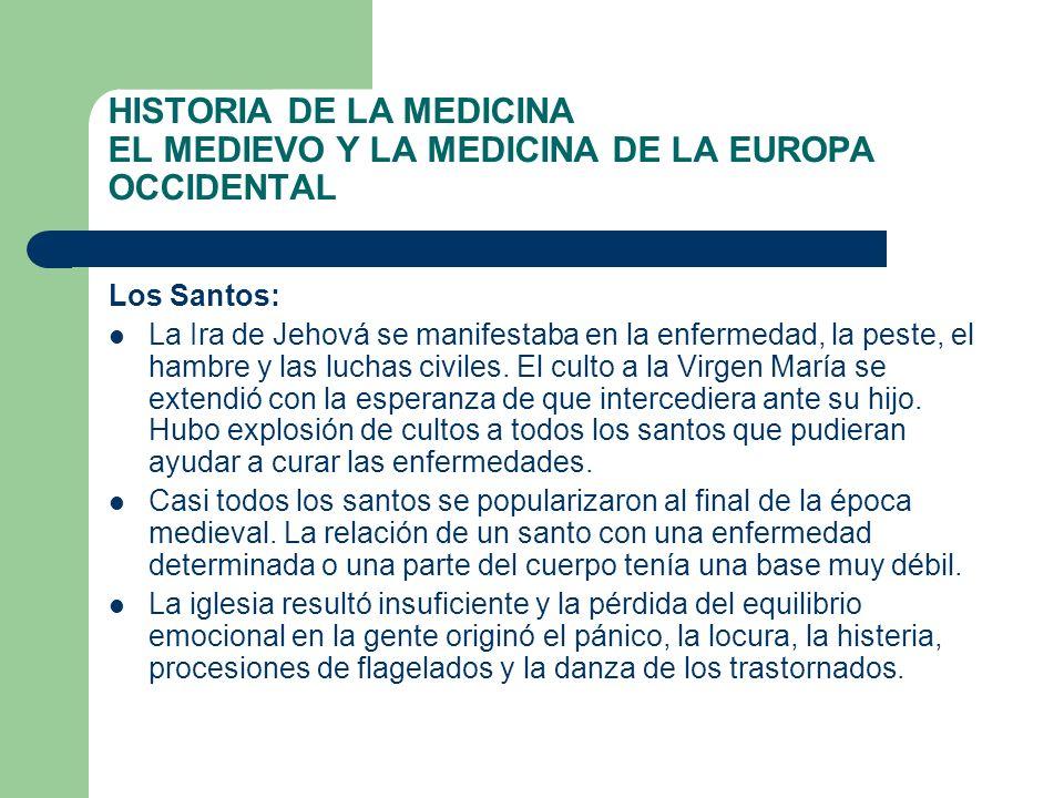 HISTORIA DE LA MEDICINA EL MEDIEVO Y LA MEDICINA DE LA EUROPA OCCIDENTAL Los Santos: La Ira de Jehová se manifestaba en la enfermedad, la peste, el ha