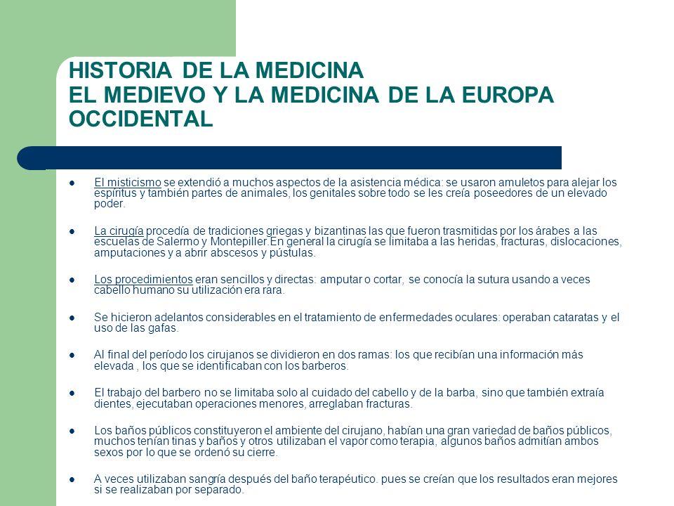 HISTORIA DE LA MEDICINA EL MEDIEVO Y LA MEDICINA DE LA EUROPA OCCIDENTAL El misticismo se extendió a muchos aspectos de la asistencia médica: se usaro
