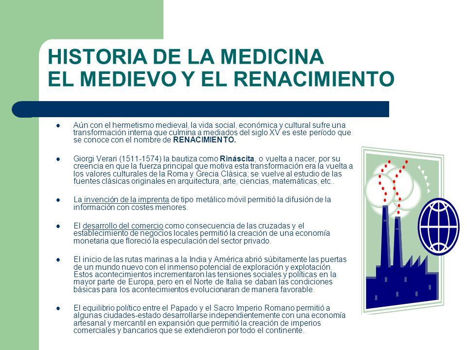 HISTORIA DE LA MEDICINA EL MEDIEVO Y EL RENACIMIENTO Aún con el hermetismo medieval, la vida social, económica y cultural sufre una transformación int