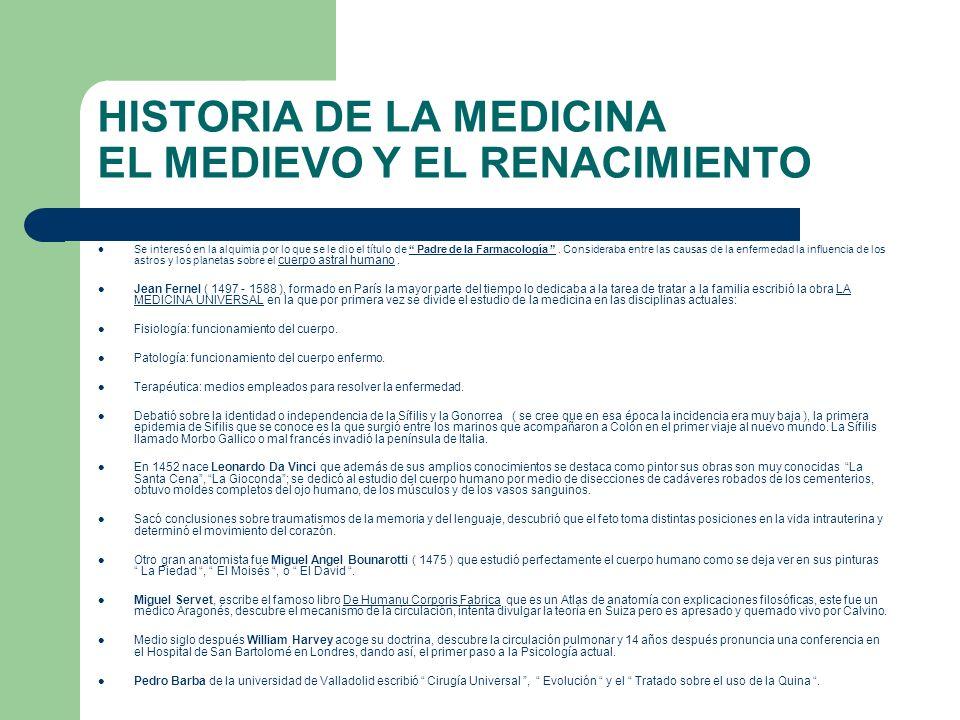HISTORIA DE LA MEDICINA EL MEDIEVO Y EL RENACIMIENTO Se interesó en la alquimia por lo que se le dio el título de Padre de la Farmacología. Considerab