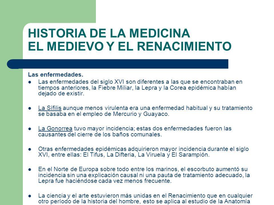 HISTORIA DE LA MEDICINA EL MEDIEVO Y EL RENACIMIENTO Las enfermedades. Las enfermedades del siglo XVI son diferentes a las que se encontraban en tiemp