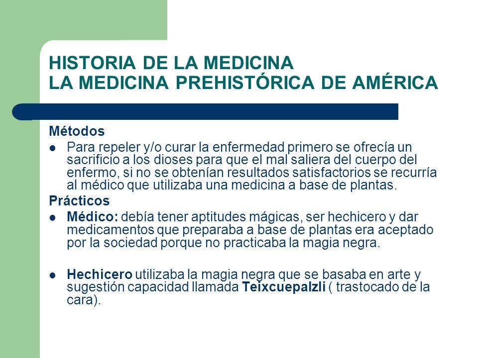 HISTORIA DE LA MEDICINA LA MEDICINA PREHISTÓRICA DE AMÉRICA Métodos Para repeler y/o curar la enfermedad primero se ofrecía un sacrificio a los dioses