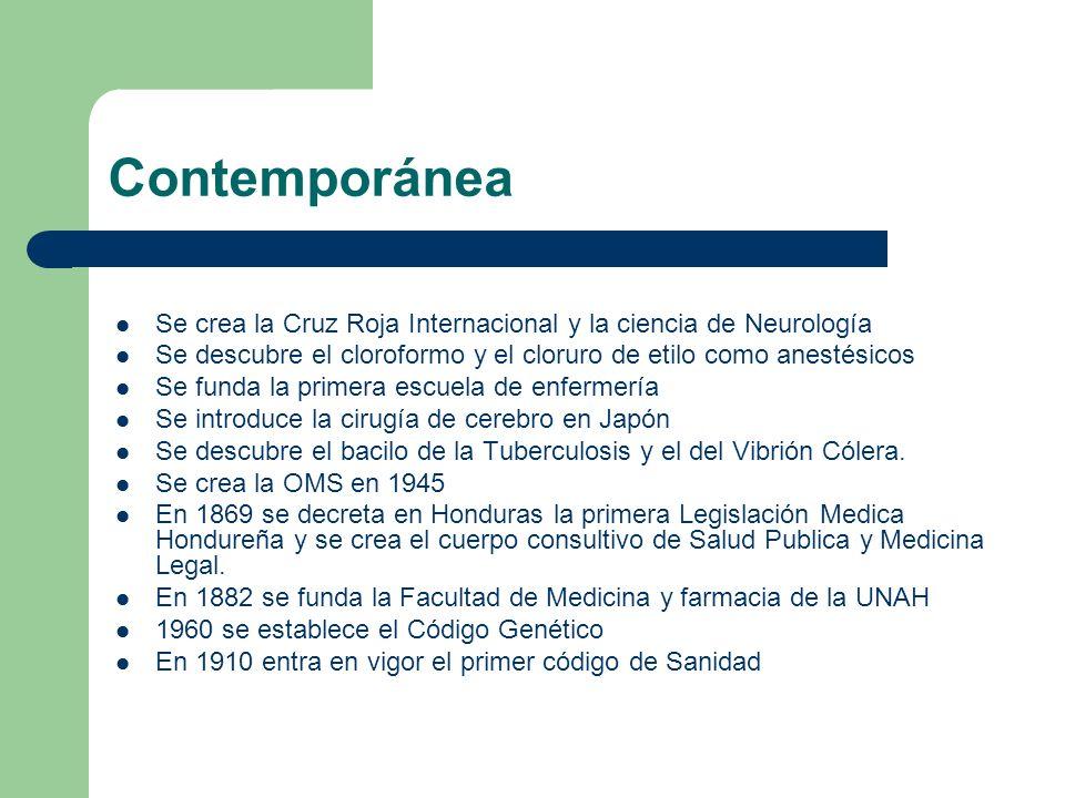 Contemporánea Se crea la Cruz Roja Internacional y la ciencia de Neurología Se descubre el cloroformo y el cloruro de etilo como anestésicos Se funda