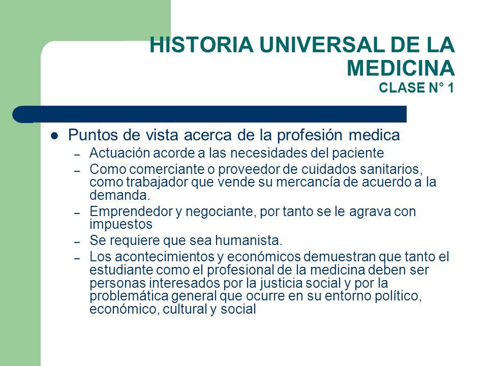 HISTORIA UNIVERSAL DE LA MEDICINA CLASE N° 1 Puntos de vista acerca de la profesión medica – Actuación acorde a las necesidades del paciente – Como co