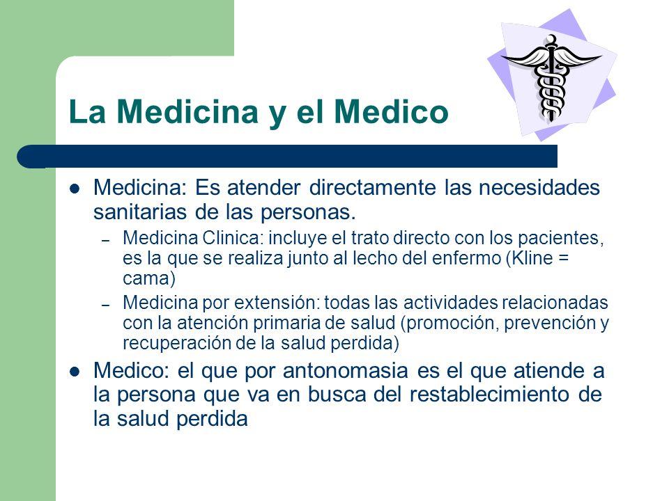 La Medicina y el Medico Medicina: Es atender directamente las necesidades sanitarias de las personas. – Medicina Clinica: incluye el trato directo con