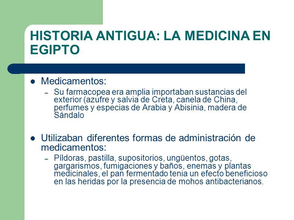 HISTORIA ANTIGUA: LA MEDICINA EN EGIPTO Medicamentos: – Su farmacopea era amplia importaban sustancias del exterior (azufre y salvia de Creta, canela