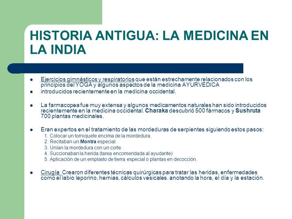 HISTORIA ANTIGUA: LA MEDICINA EN LA INDIA Ejercicios gimnásticos y respiratorios que están estrechamente relacionados con los principios del YOGA y al