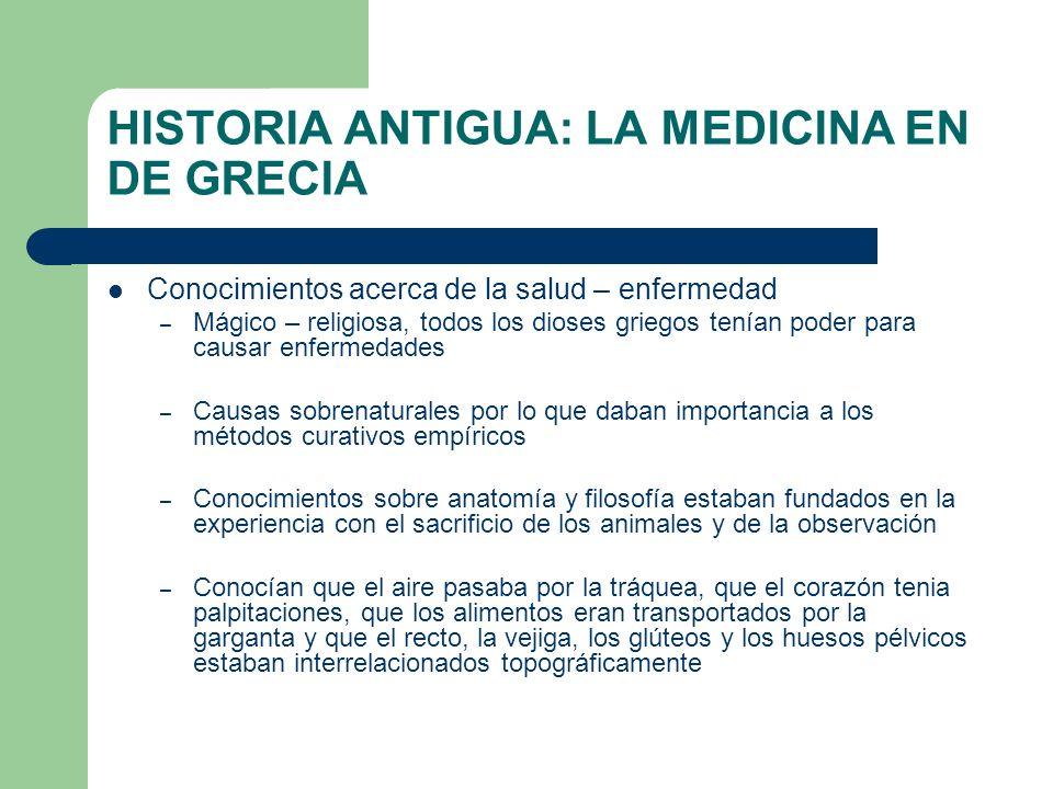 HISTORIA ANTIGUA: LA MEDICINA EN DE GRECIA Conocimientos acerca de la salud – enfermedad – Mágico – religiosa, todos los dioses griegos tenían poder p