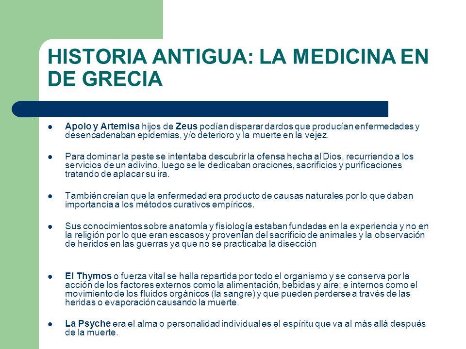HISTORIA ANTIGUA: LA MEDICINA EN DE GRECIA Apolo y Artemisa hijos de Zeus podían disparar dardos que producían enfermedades y desencadenaban epidemias