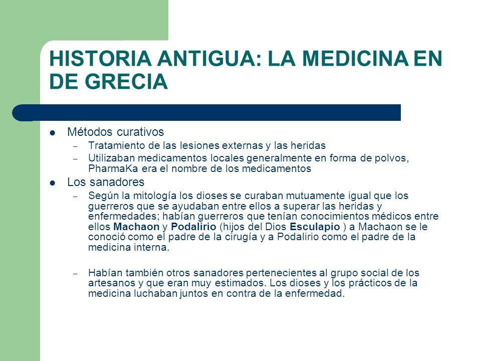HISTORIA ANTIGUA: LA MEDICINA EN DE GRECIA Métodos curativos – Tratamiento de las lesiones externas y las heridas – Utilizaban medicamentos locales ge