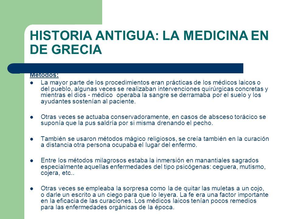 HISTORIA ANTIGUA: LA MEDICINA EN DE GRECIA Métodos: La mayor parte de los procedimientos eran prácticas de los médicos laicos o del pueblo, algunas ve