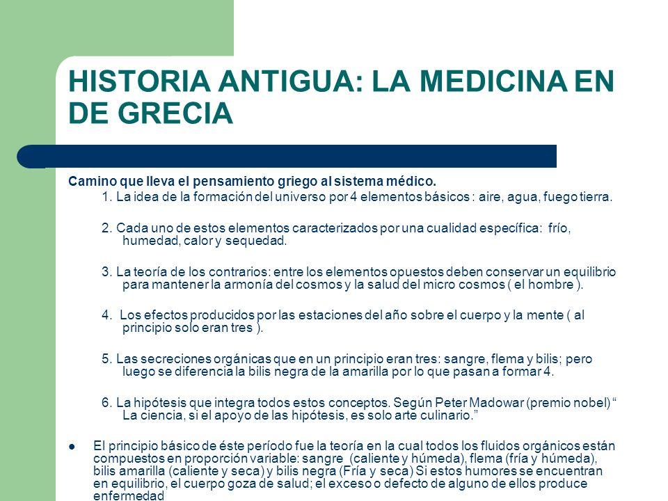 HISTORIA ANTIGUA: LA MEDICINA EN DE GRECIA Camino que lleva el pensamiento griego al sistema médico. 1. La idea de la formación del universo por 4 ele