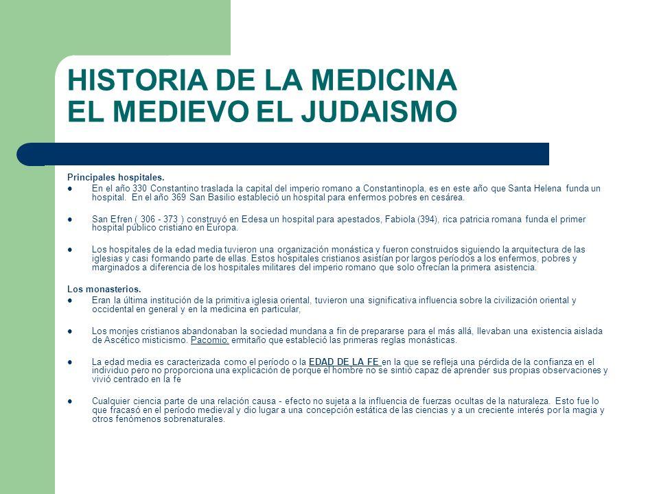 HISTORIA DE LA MEDICINA EL MEDIEVO EL JUDAISMO Principales hospitales. En el año 330 Constantino traslada la capital del imperio romano a Constantinop