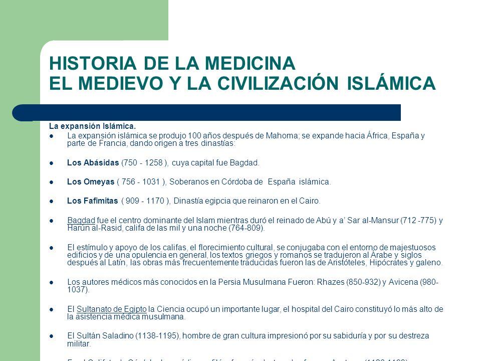 HISTORIA DE LA MEDICINA EL MEDIEVO Y LA CIVILIZACIÓN ISLÁMICA La expansión Islámica. La expansión islámica se produjo 100 años después de Mahoma; se e