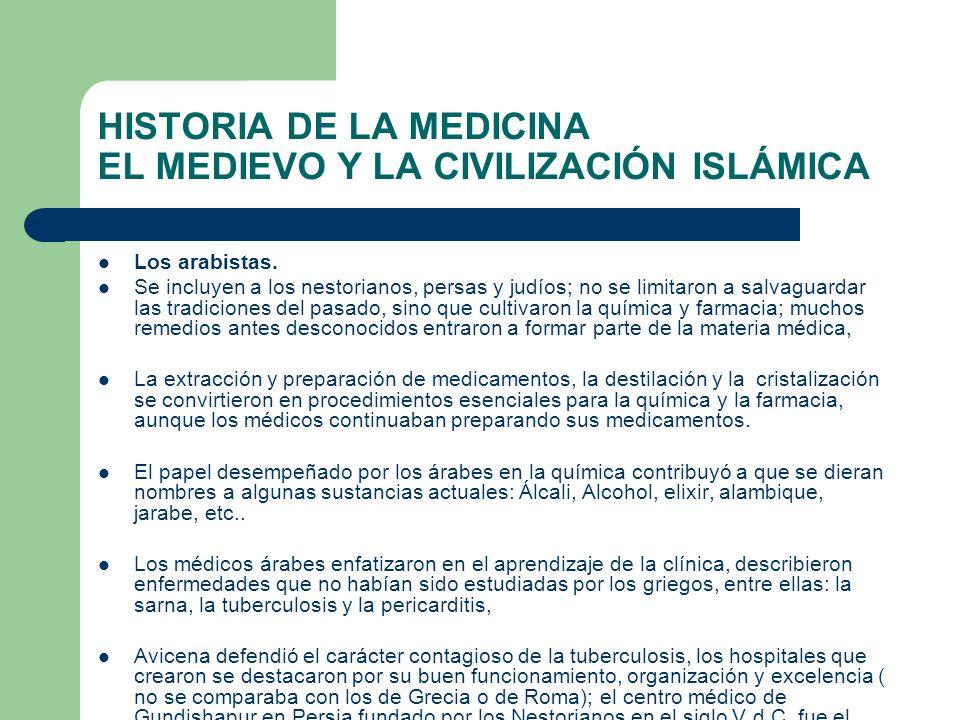 HISTORIA DE LA MEDICINA EL MEDIEVO Y LA CIVILIZACIÓN ISLÁMICA Los arabistas. Se incluyen a los nestorianos, persas y judíos; no se limitaron a salvagu