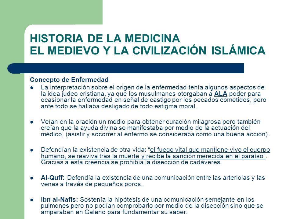 HISTORIA DE LA MEDICINA EL MEDIEVO Y LA CIVILIZACIÓN ISLÁMICA Concepto de Enfermedad La interpretación sobre el origen de la enfermedad tenía algunos