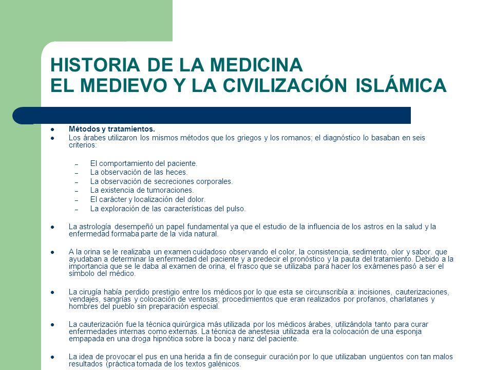 HISTORIA DE LA MEDICINA EL MEDIEVO Y LA CIVILIZACIÓN ISLÁMICA Métodos y tratamientos. Los árabes utilizaron los mismos métodos que los griegos y los r