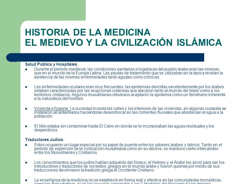 HISTORIA DE LA MEDICINA EL MEDIEVO Y LA CIVILIZACIÓN ISLÁMICA Salud Pública y Hospitales. Durante el período medieval, las condiciones sanitarias e hi
