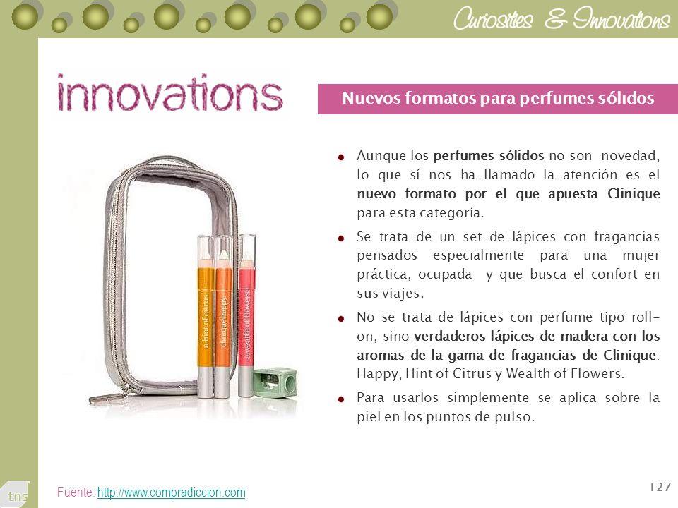 127 Aunque los perfumes sólidos no son novedad, lo que sí nos ha llamado la atención es el nuevo formato por el que apuesta Clinique para esta categoría.