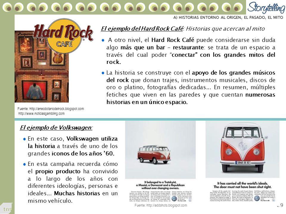 29 A) HISTORIAS ENTORNO AL ORIGEN, EL PASADO, EL MITO A otro nivel, el Hard Rock Café puede considerarse sin duda algo más que un bar – restaurante: se trata de un espacio a través del cual poder conectar con los grandes mitos del rock.