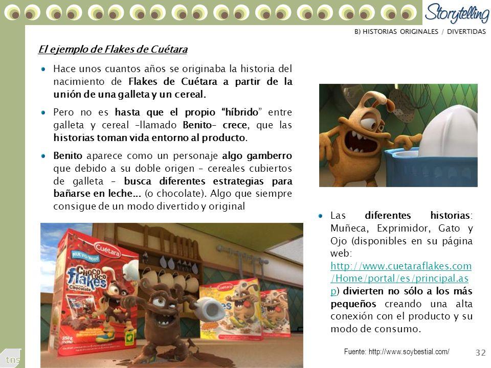 32 El ejemplo de Flakes de Cuétara Hace unos cuantos años se originaba la historia del nacimiento de Flakes de Cuétara a partir de la unión de una galleta y un cereal.