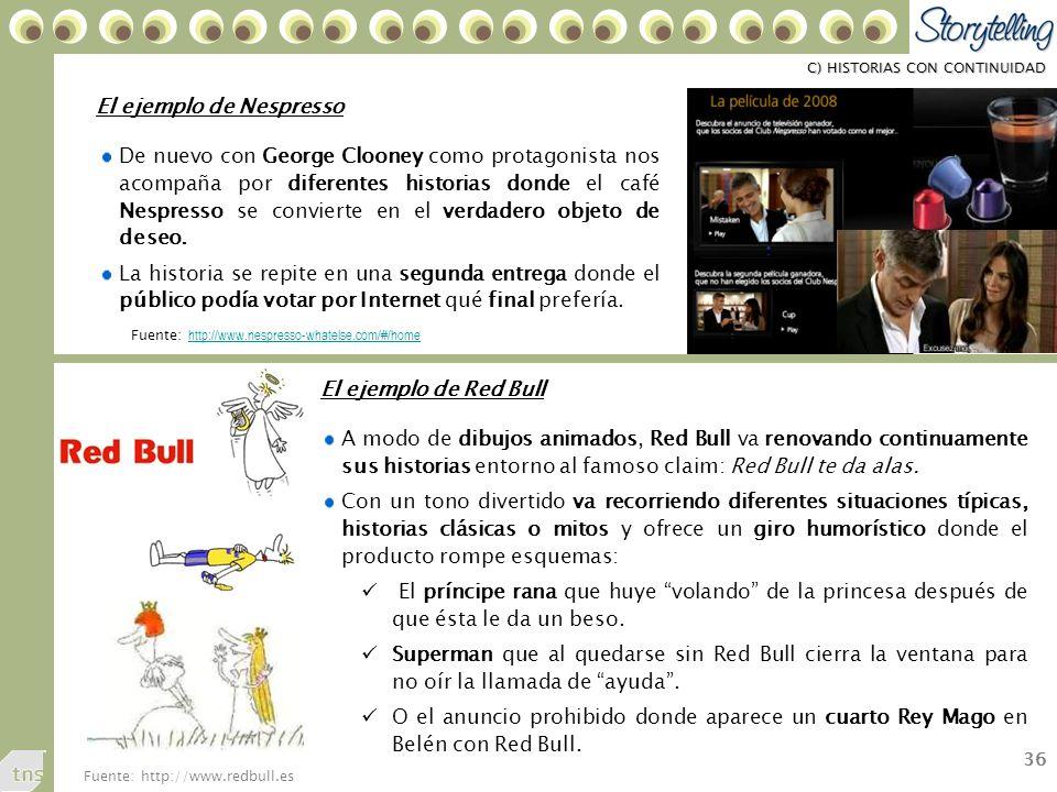 36 C) HISTORIAS CON CONTINUIDAD De nuevo con George Clooney como protagonista nos acompaña por diferentes historias donde el café Nespresso se convierte en el verdadero objeto de deseo.