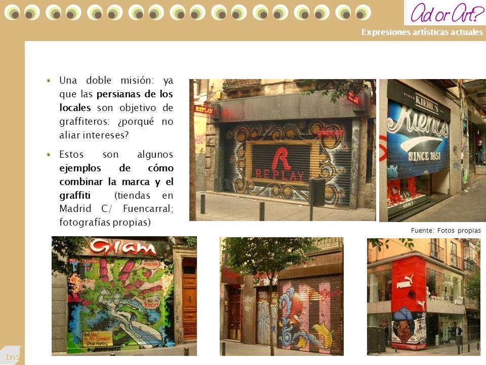 49 Expresiones artísticas actuales Una doble misión: ya que las persianas de los locales son objetivo de graffiteros: ¿porqué no aliar intereses.