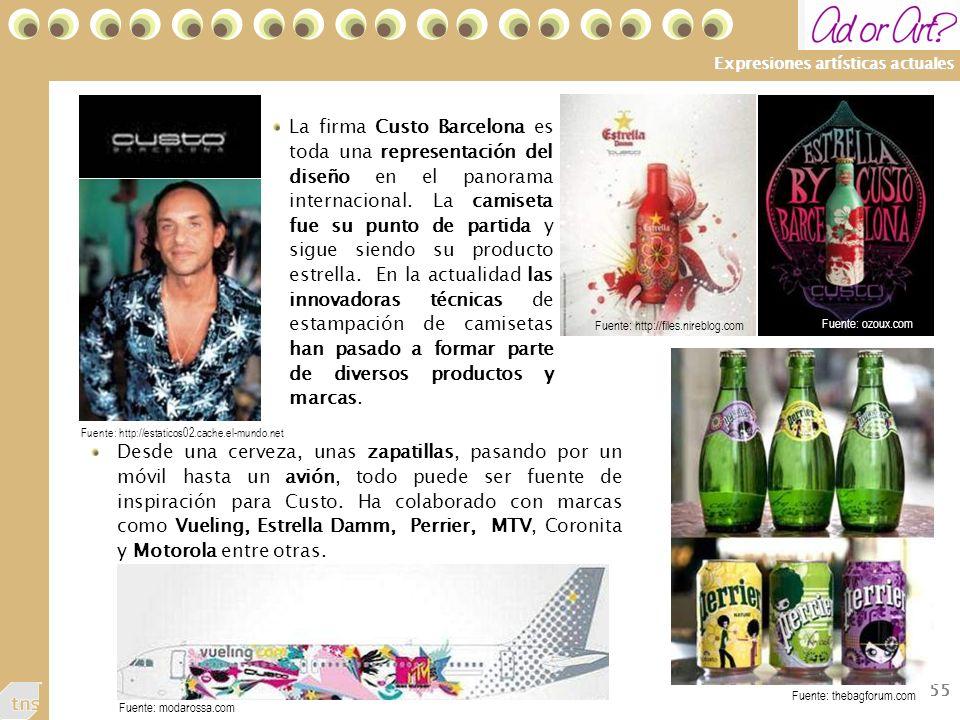 55 Expresiones artísticas actuales La firma Custo Barcelona es toda una representación del diseño en el panorama internacional.