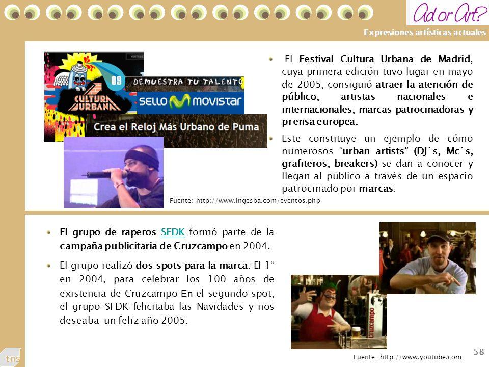 58 Expresiones artísticas actuales El grupo de raperos SFDK formó parte de la campaña publicitaria de Cruzcampo en 2004.SFDK El grupo realizó dos spots para la marca: El 1º en 2004, para celebrar los 100 años de existencia de Cruzcampo En el segundo spot, el grupo SFDK felicitaba las Navidades y nos deseaba un feliz año 2005.