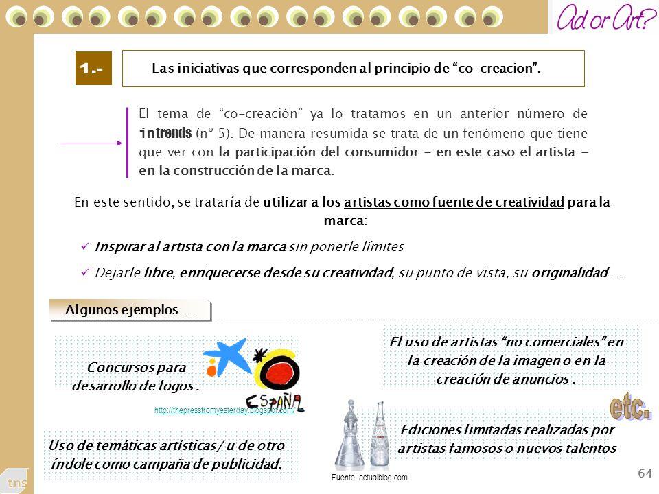 64 Las iniciativas que corresponden al principio de co-creacion.