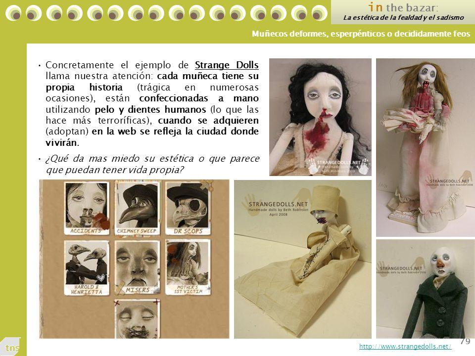 79 Concretamente el ejemplo de Strange Dolls llama nuestra atención: cada muñeca tiene su propia historia (trágica en numerosas ocasiones), están confeccionadas a mano utilizando pelo y dientes humanos (lo que las hace más terroríficas), cuando se adquieren (adoptan) en la web se refleja la ciudad donde vivirán.